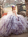 Ball Gown Court Train Flower Girl Dress - Tulle / Stretch Satin / Polyester Sleeveless Spaghetti Straps with