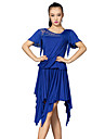 Latin Dance Outfits Women\'s Training Lace / Tulle / Milk Fiber Crystals/Rhinestones / Lace 2 Pieces Blue