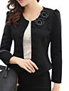 Women\'s Blazer,Solid Long Sleeve White / Black Polyester Thin