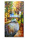 HANDMÅLAD Abstrakt / LandskapModerna En panel Kanvas Hang målad oljemålning For Hem-dekoration