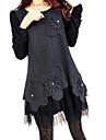 Women\'s Round Collar Plus Size Lace Patchwork Dress