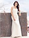 Lanting Bride® Åtsmitande Brudklänning Svepsläp Fyrkantig Satäng med Applikationsbroderi Veckad