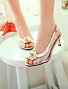 נעלי נשים - סנדלים / בלרינה\עקבים - דמוי עור - עקבים / נעלים עם פתח קדמי - שחור / כסוף / זהב - שטח / שמלה / קז\'ואל - עקב סטילטו