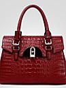 Femme Polyurethane Formel / Decontracte / Bureau & Travail / Shopping Sac a Bandouliere / Cabas / Cartable Bleu / Rouge / Noir