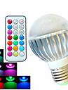 8W E26/E27 LED-globlampor A60(A19) 3 Högeffekts-LED 400 lm RGB Dimbar / Fjärrstyrd / Dekorativ AC 100-240 V 1 st