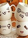 300ml rolig ansikte humör mugg vit keramik keramik te kaffe mjölk kopp julklappar (random stil)