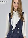 3/4 ærmelængde Firkantet hals Medium Kvinders Hvid Ensfarvet Forår Simpel Casual/hverdag Skjorte,Polyester / Spandex