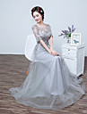 A-line bijuterie gât pardoseală lungime tul balul rochie de balet formal cu dantelă