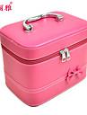 Sminkförvaring Makeup-låda / Sminkförvaring Polyester Enfärgat Kvadrat 21.5x15x16.5cm Orange / Vit / Rose
