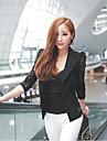 Women\'s Solid White / Black Blazer , Sexy Notch Lapel Long Sleeve