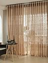 Deux Panneaux Moderne Solide / Rayure / Courbe Cafe Salle de sejour Polyester Sheer Rideaux Shades