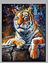 modern abstrakt ren handmålad oljemålning redo att hänga dekoration tigern