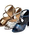 Latin / Salsa / Samba - Pantofi de dans (Albastru / Auriu) - Personalizabili - Damă