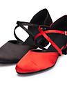 Chaussures de danse(Noir Rouge) -Personnalisables-Talon Personnalise-Satin-Moderne