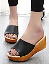 Damskor-Lack-Kilklack-Öppen tå / Komfort / Flip-flop-Sandal-Fritid-Svart / Vit / Silverfärgad / Orange