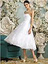 Lanting Bride® A-line Wedding Dress - Reception Little White Dresses Tea-length Sweetheart Tulle with Beading / Button / Appliques