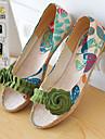 Pantofi pentru femei-Imitație de Piele-Toc Jos-Decupați-Sandale-Outdoor / Rochie / Casual-Verde / Violet