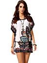 De las mujeres Corte Ancho / Camiseta Vestido Vintage / Chic de Calle Estampado Mini Escote Redondo Algodon / Poliester