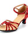 Scarpe da ballo-Personalizzabile-Da donna-Balli latino-americani-Tacco su misura-Finta pelle-Nero / Blu / Rosso / Argento / Dorato