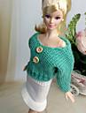Ledigt Klänningar För Barbie Doll Vit / Grön Kjolar / Överdelar