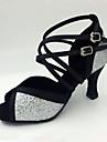 Chaussures de danse(Argent) -Non Personnalisables-Talon Aiguille-Paillette-Latine