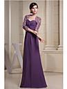 Sheath/Column Mother of the Bride Dress-Grape Floor-length Chiffon