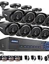 annke® 8ch ahd-l dvr ecloud HDMI 1080p / VGA / BNC-utgång 8st 900tvl CMOS 42leds dag / natt IR-kameror IP66