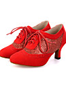 Chaussures de danse(Noir / Rose / Rouge) -Personnalisables-Talon Bobine-Flocage / Paillette Brillante-Ventre / Latine / Jazz / Baskets de