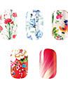 5PCS-Autocollants 3D pour ongles-Doigt- enBande dessinee / Fleur-14.5*7.5