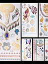 6 Tatueringsklistermärken Smyckeserier Djurserier Blomserier Totemserier AnnatOgiftig Mönster Halloween Glitter Kristall Hawaiisk