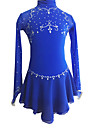 Robe de Patinage Femme Manches longues Patinage Robes Robe de patinage artistique Elasthanne Bleu royal Tenue de PatinageVetements de