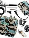 ophir bleu camouflage 0.3mm kit aerographe reglable avec mini compresseur d\'air pour passe-temps de tatouage temporaire