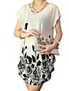 Women\'s Casual/Print Micro-elastic Short Sleeve Regular T-shirt (Silk)