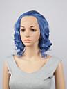 perruques synthetiques de mode dentelle perruques avant 10inch bob vague de corps cheveux resistant a la chaleur bleu perruques femmes