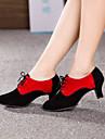 Non Customizable Women\'s Dance Shoes Modern Suede Cuban Heel Black