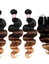 ombre brasilianskt hår med stängning 4 st / lot ombre hår buntar med nedläggningar spets förkroppsligar vinkar färgade 1b / 4/27