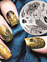 2016 senaste versionen mode mönster sjöjungfru nail art stämpling bild mall plattor