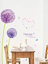 Botanique Romance Floral Paysage Stickers muraux Autocollants avion Autocollants muraux decoratifs Materiel Amovible Repositionable