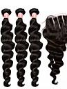 Hår Inslag med Stängning Malaysiskt hår Löst vågigt 12 månader 4 delar hår väver