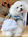 Hundar Klänningar Blå Hundkläder Sommar Blommig/Botanisk Rosett Jeans Cowboy