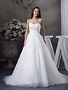 A-line Wedding Dress Court Train Sweetheart Satin / Tulle with Beading / Appliques