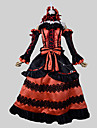 Inspirerad av Datum A Live Kurumi Tokisaki Animé Cosplay-kostymer cosplay Suits Vintage Svart Röd Ärmlös Topp Kjol Headband Ärmar Band För