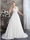 A-line Wedding Dress Court Train One Shoulder Chiffon with Lace / Ruche / Ruffle