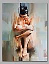 Pictat manual Abstract / Oameni / Culoarea pieliiStil European / Modern Un Panou Canava Hang-pictate pictură în ulei For Pagina de