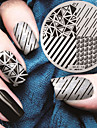 2016 senaste versionen mode geometriskt mönster nail art stämpling bild mall plattor