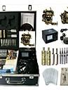 Komplett tatueringsutrustning 2 x legering tatuering maskin för lining och skuggning 2 Tatueringsmaskiner Analog strömförsörjningBläck