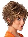 kvinnor kort lockigt syntetiskt hår peruk brunt med hårnät