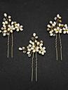 Femei Fata cu Flori Perle Imitație de Perle Diadema-Nuntă Ocazie specială Ac de Păr 2 Piese