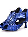 Chaussures de danse(Noir / Bleu / Rouge) -Personnalisables-Talon Bobine-Satin-Latine / Jazz / Moderne / Chaussures de Swing