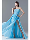Formal Evening Dress Sheath / Column Sweetheart Floor-length Chiffon with Beading / Sash / Ribbon / Side Draping / Split Front